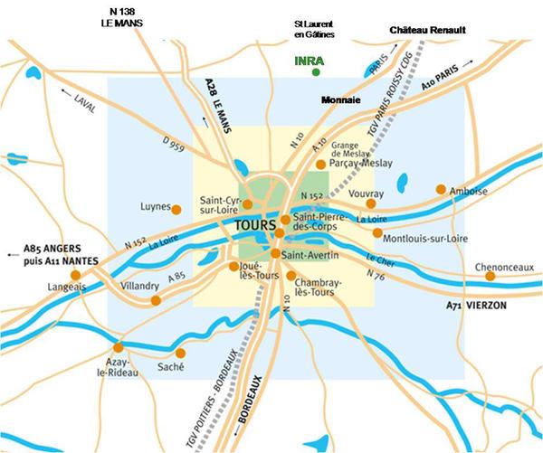 Plan d'accès au Centre Inra Val de Loire - Site de Tours
